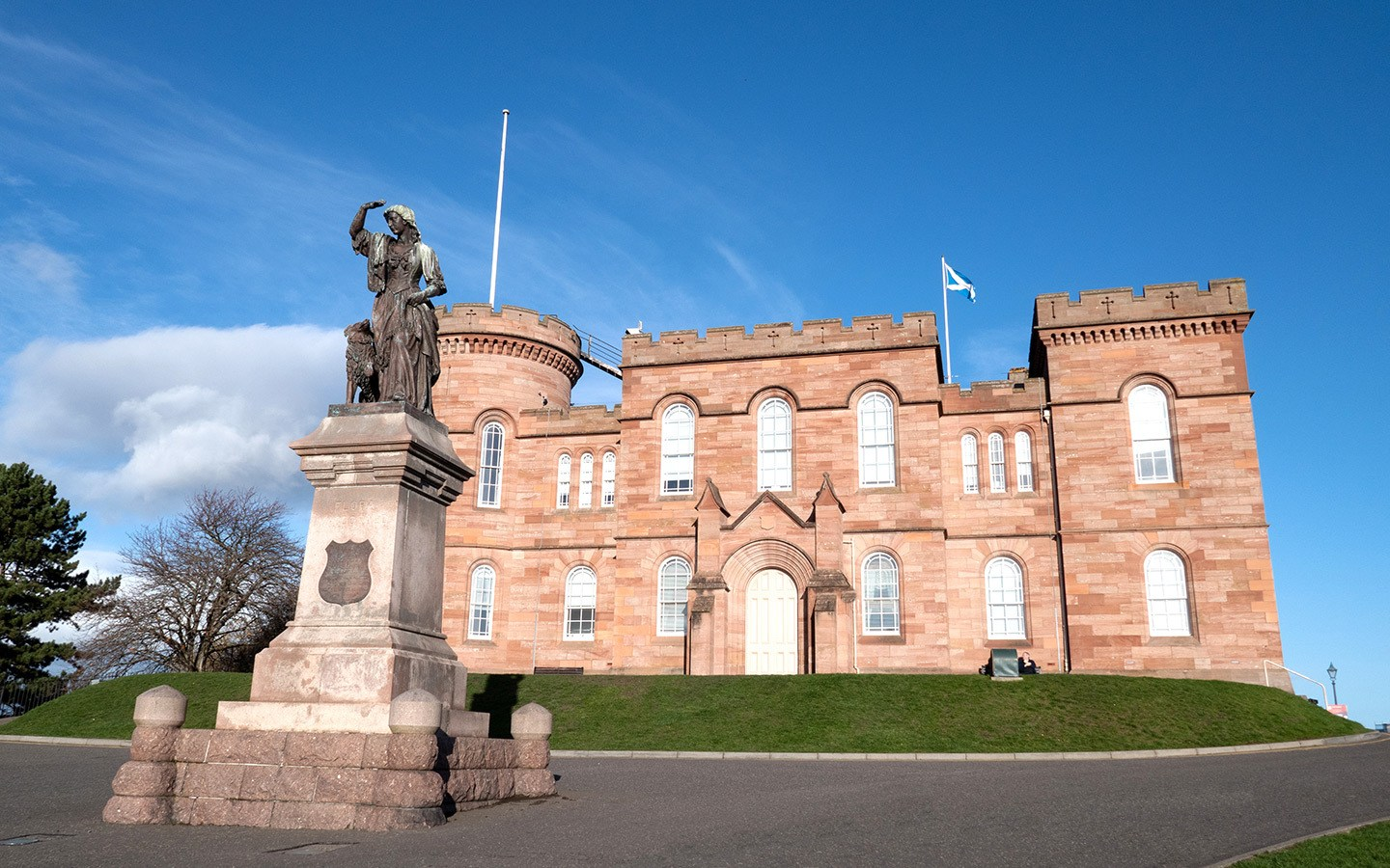Outside Inverness Castle and statue of Flora MacDonald