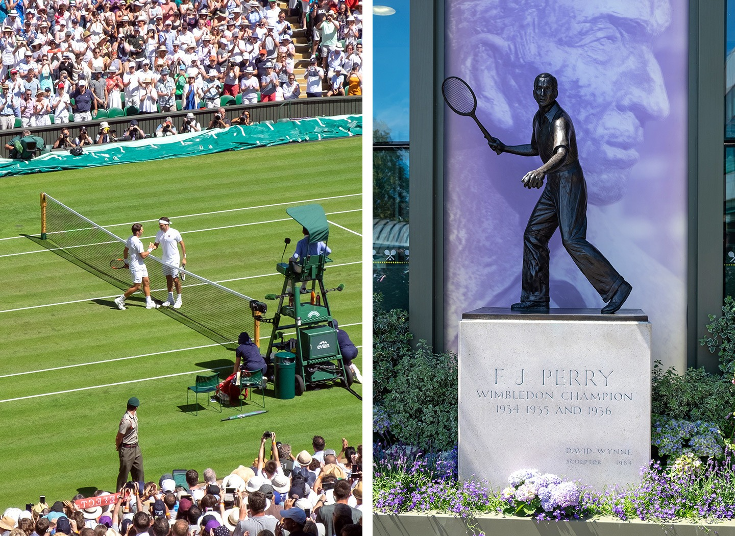 Centre court action and Fred Perry statue at Wimbledon