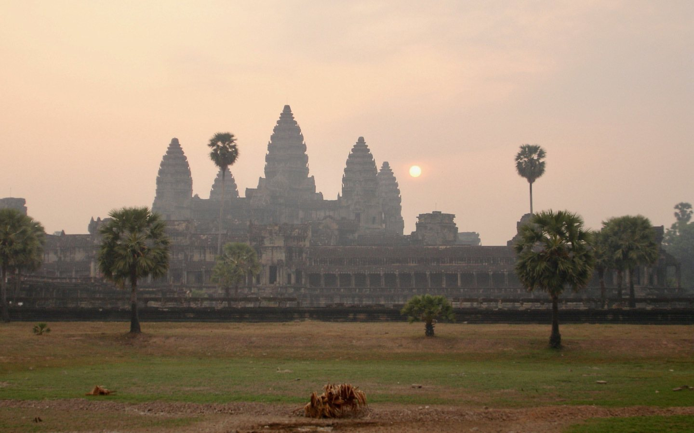Sunrise at Angkor Wat temples in Cambodia