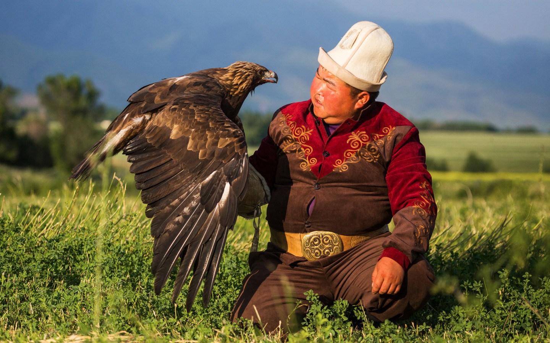 Man with falcon in Kyrgyzstan