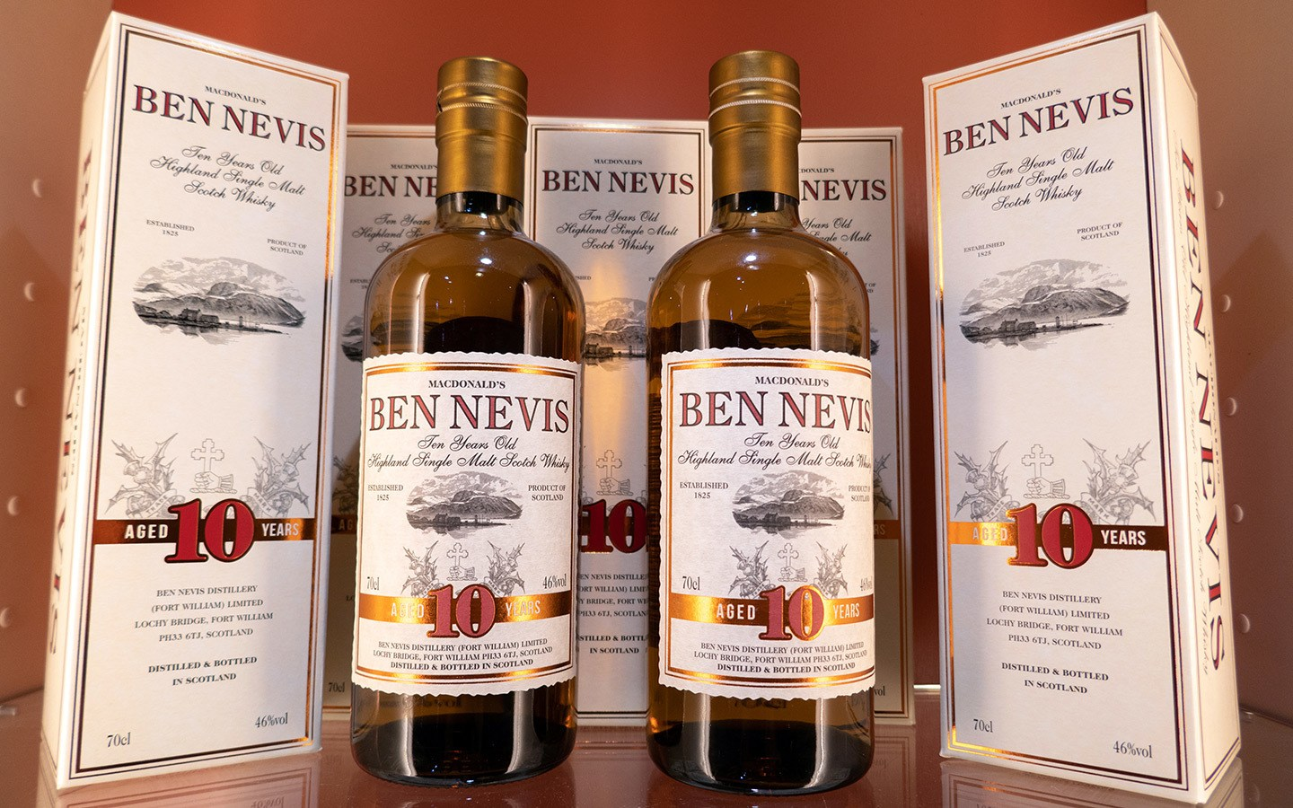 Whisky bottles at the the Ben Nevis Distillery in Fort William, Scotland
