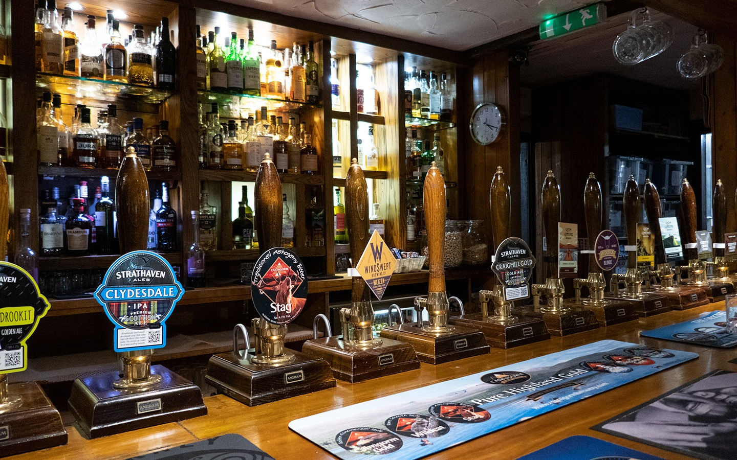 Beer pumps in the Clachaig Inn in Glencoe in the Scottish Highlands