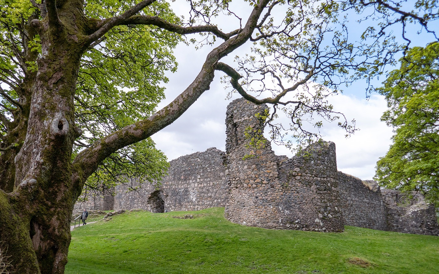 The ruins of Old Inverlochy Castle near Fort William in Scotland