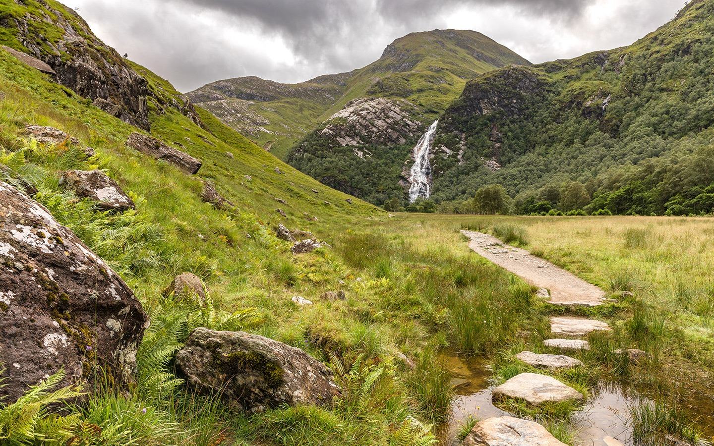 The path the Steall Waterfall near Fort William