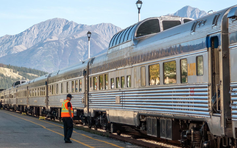 The Canadian train across Canada arrives into Jasper