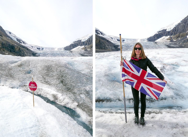 A glacier walk on the ice of the Athabasca Glacier