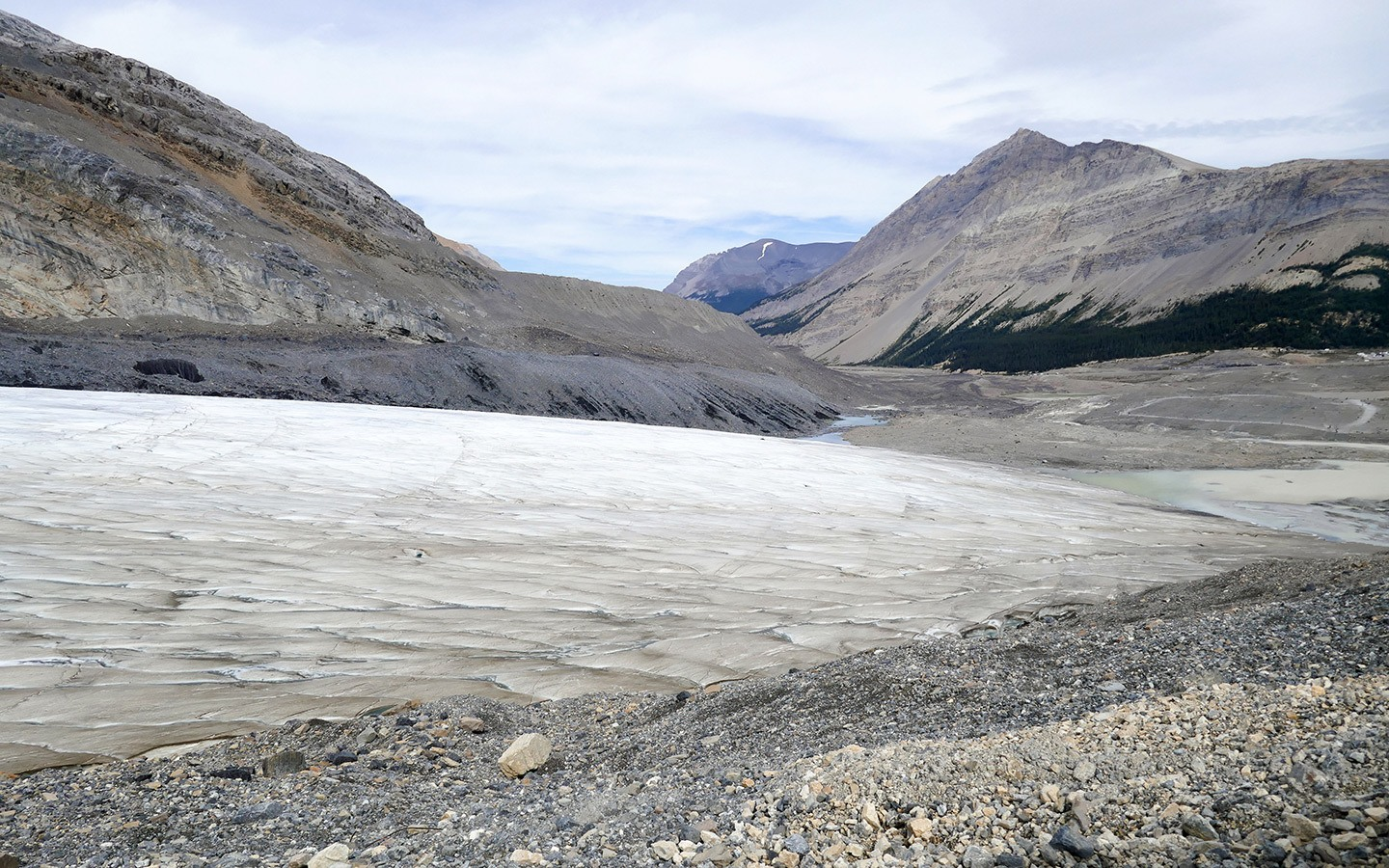 The foot of the Athabasca Glacier