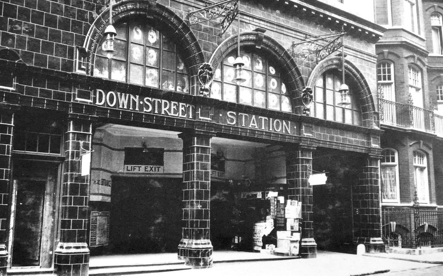 Vintage photo of Down Street Tube station in London