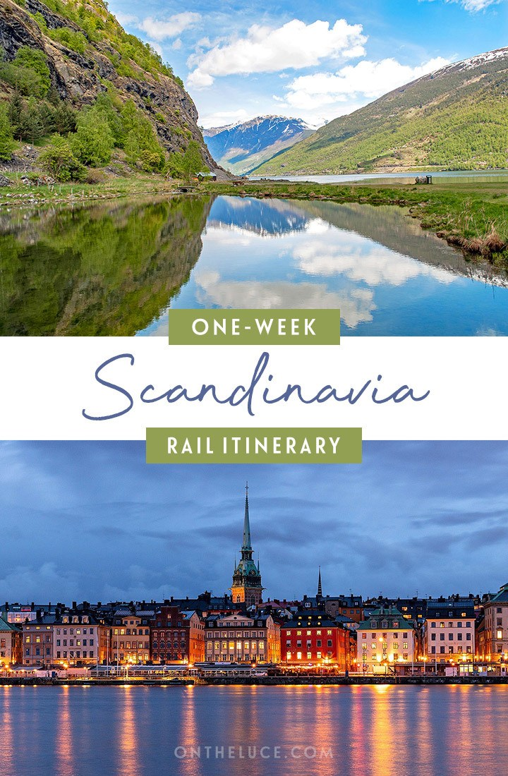 One-week Sandinavia by train itinerary from Copenhagen to Bergen, with Michelin-starred dining and world-class museums in the region's cities to fjord boat trips and scenic mountain railway journeys through Scandinavia's stunning landscapes. Here's what trains to take, how much they cost, how to book and what to see along the way. #interrail #europe #train #rail #scandinavia
