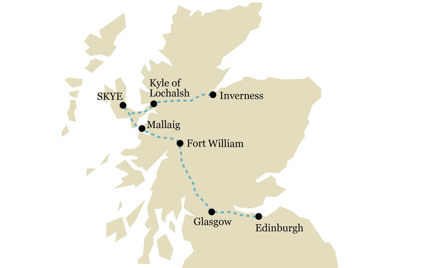 One-week scenic Scotland by train itinerary map