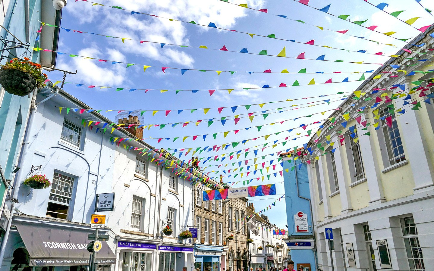Bunting flags flying in Falmouth's town centre