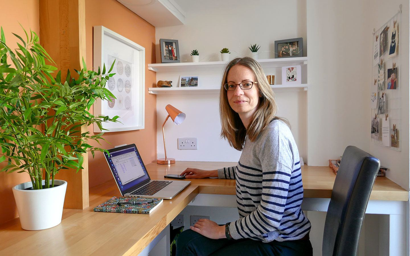 Travel blogger working at home
