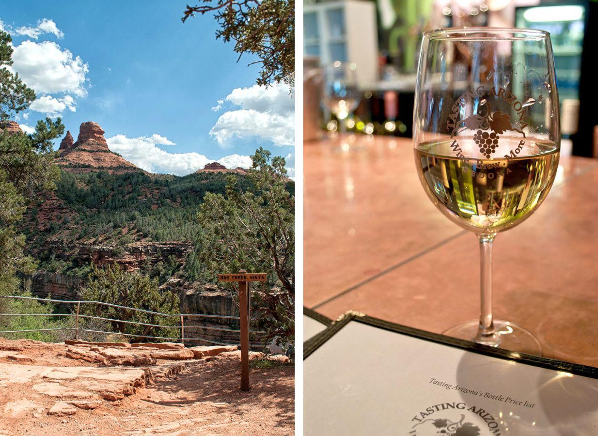 Views of Oak Creek and wine from the Verde Valley Wine Region in Arizona
