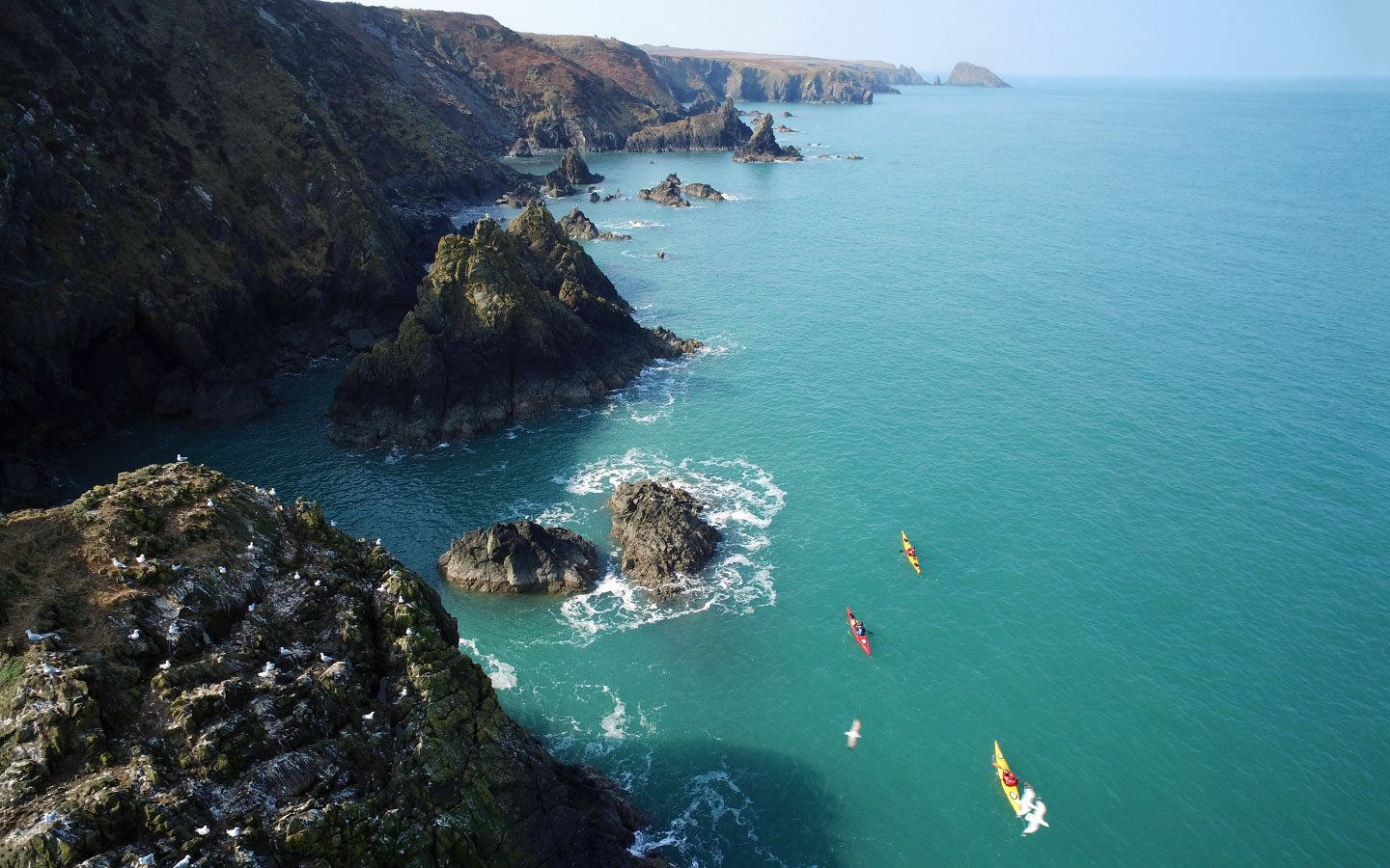 Kayaking the Pembrokeshire coast in Wales