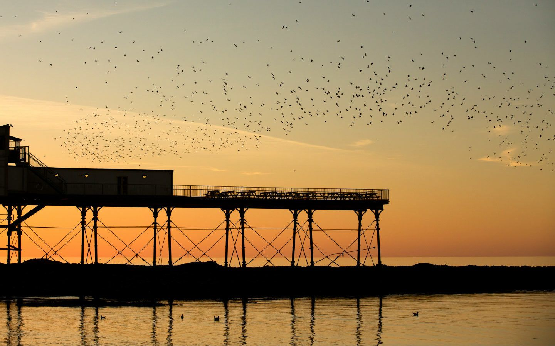 Aberystwyth pier at sunset