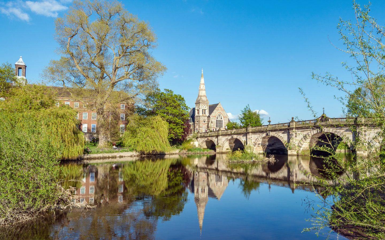 Shrewsbury's English Bridge on the River Severn