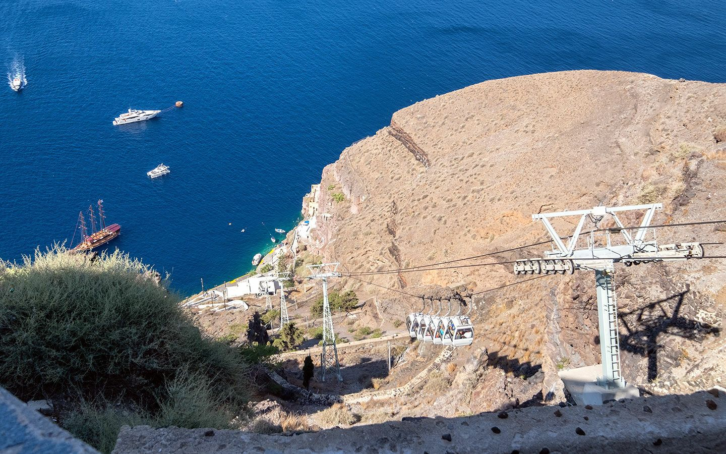 The cable car from Fira to the old port in Santorini