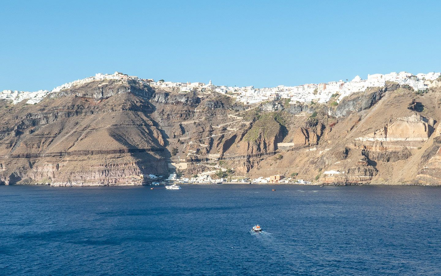 Fira Santorini as seen from the water