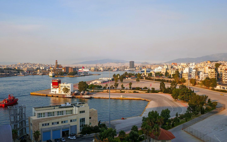 Piraeus port in Athens at sunset