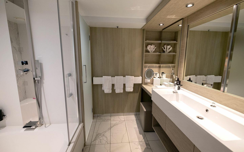 Our Sky Suite stateroom bathroom on Celebrity Apex