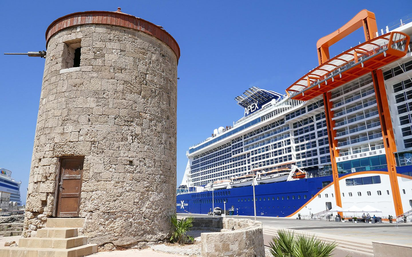 Celebrity Apex cruise ship in Rhodes Town