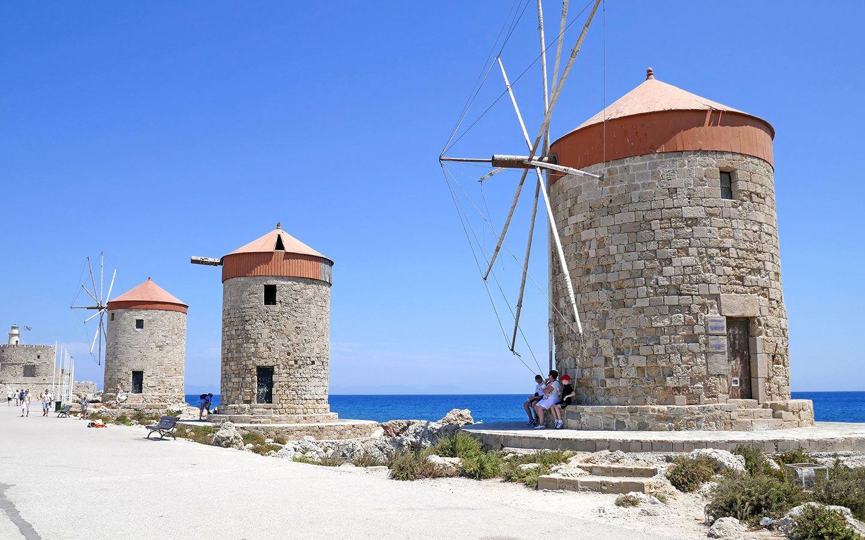 Windmills in Rhodes Town, Greec