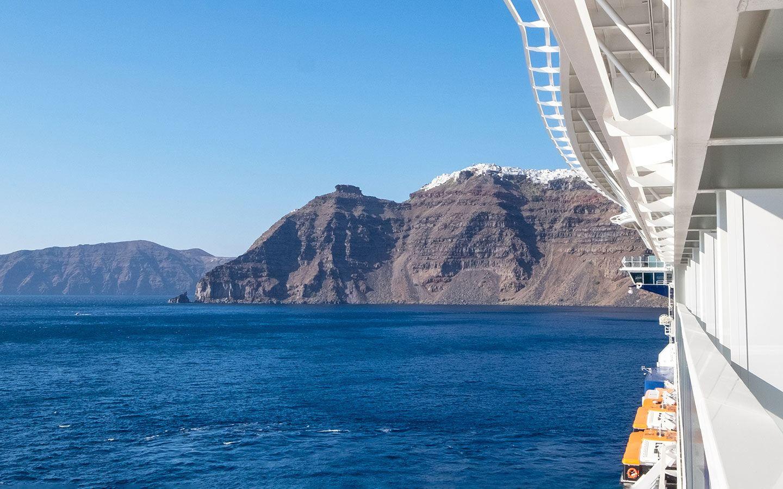 Cruise ship in Santorini