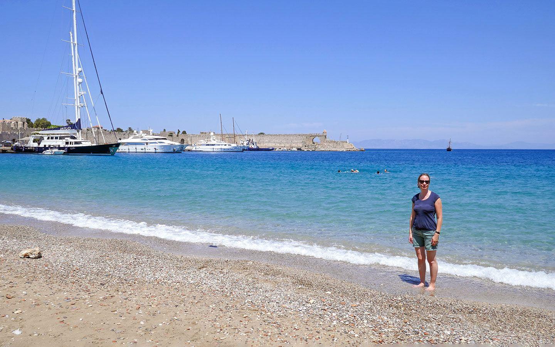 On the beach in Rhodes